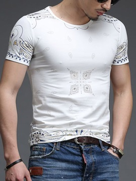 Letter Printed Slim Fit Mens Round Neck Tee