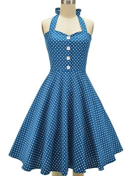 Vintage Polka Dots Sleeveless Skater Dress