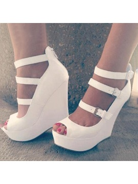 White Peep Toe Buckles Wedge
