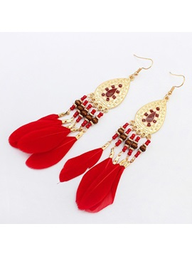 Beading Feather Tassels Women Earrings