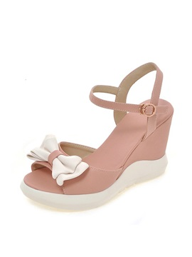 Sweet Bowknots Peep Toe Wedge Sandals