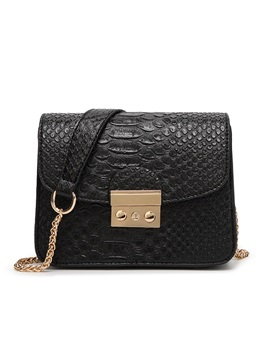 Hasp Decorated Croco Embossed Womens Shoulder Bag