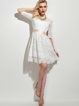 Half Sleeve A Line Lace Dress