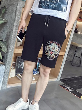 Lace Up Floral Printed Mens Mid Waist Shorts