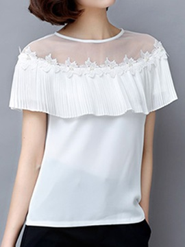 Ladylike See Through Mesh Collar Blouse