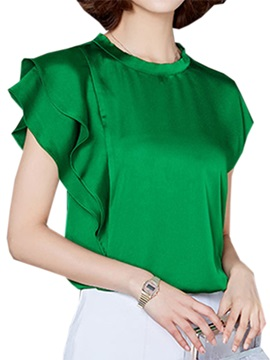 Ol Asymmetrical Ruffle Sleeves Blouse
