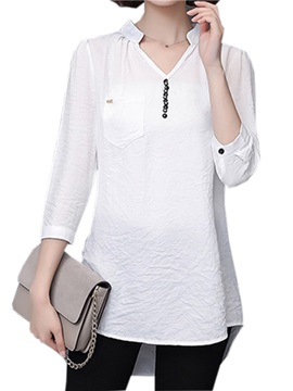 Ol Button Decoration Collar Blouse