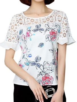 Chic Hollow Short Sleeves Floral Printed Blouse