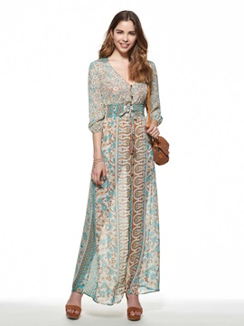 Plain V Neck Print Slim Maxi Dress
