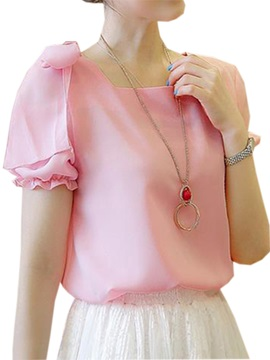 Cute Bowknot Decoration Shoulder Blouse