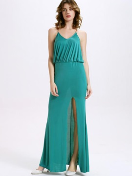 Sisjuly® Plain Backless Empire Waist Maxi Dress