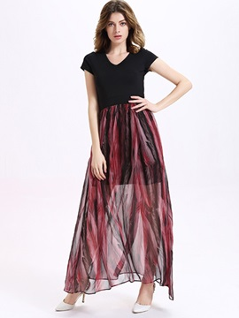 Sisjuly® Patchwork Print Short Sleeve Maxi Dress