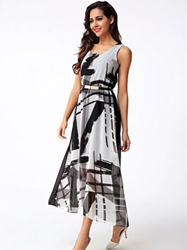 Sisjuly® Round Neck Sleeveless Print Dress
