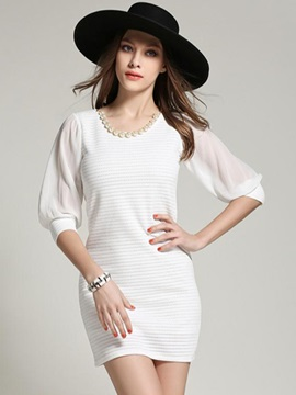 Sisjuly® Plain 3 4 Sleeve Day Dress