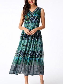 Sisjuly® Ethnic Gradient Sleeveless Maxi Dress