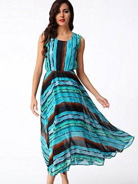 Sisjuly® Stripe Round Neck Sleeveless Maxi Dress