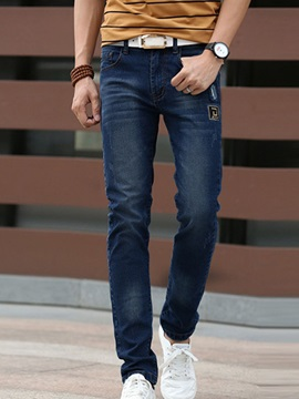 Straight Slim Fit Mens Mid Waist Jeans