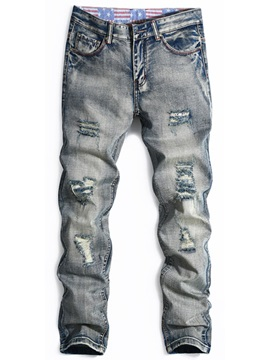 Worn Zipper Straight Mens Mid Waist Jeans