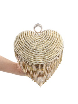 Pearls Decorated Heart Shaped Womens Clutch