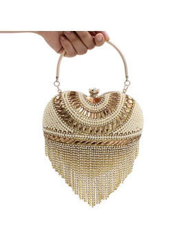 Heart Shaped With Tassel Womens Top Handle Clutch
