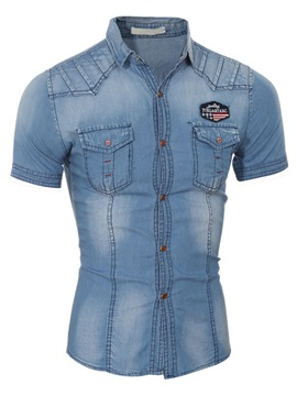 Medium Wash Slim Fit Mens Denim Shirt