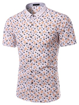 Floral Printed Short Sleeve Mens Casual Shirt