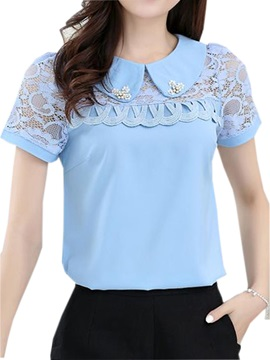 Chic Bead Peter Pan Collar Slim Blouse