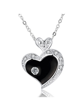 Simple Heart Shaped Diamante Zircon Necklace