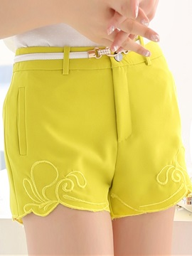 Solid Color Embroidery Womens Shorts