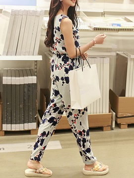 Floral Printing Round Neck Jumpsuit