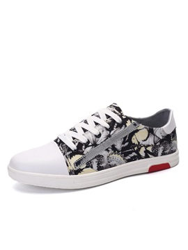 Printed Round Toe Lace Up Canvas Shoes For Men