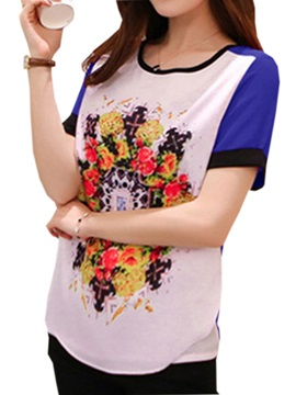 Casual Floral Printed Color Back T Shirt