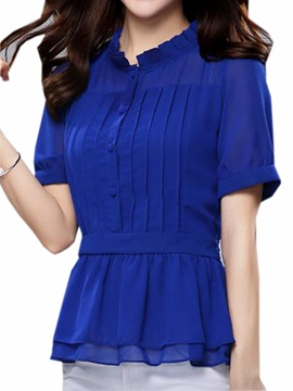 Chic Dress Hem Slim Blouse