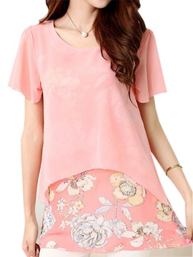 Stylish Double Layer Floral Printed Hem Blouse
