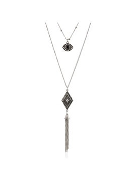 Alloy Rhombus Tassels Chain Necklace