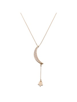 Charming Diamante Moon Shaped Pendant Necklace