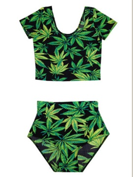 Marijuana Leaves Print Two Piece Bikini Bathing Suit