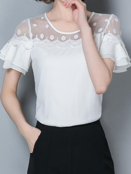 See Through Collar Double Layer Cuff Blouse