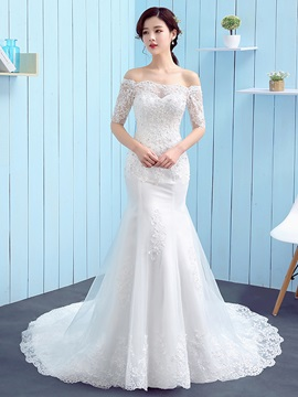 Modest Off The Shoulder Mermaid Wedding Dress With Sleeves