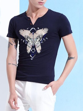 V Neck Butterfly Printed Mens Casual T Shirt