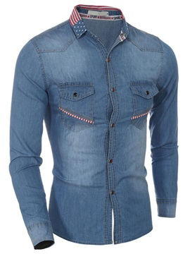 Loose Fit Medium Wash Mens Denim Shirt