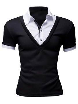 Contrast Color Slim Fit Mens Turn Down Collar Polo