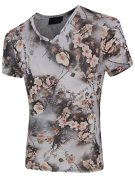 V Neck Floral Printed Mens Short Sleeve T Shirt