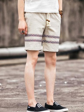 Linen Mens Lace Up Waist Shorts