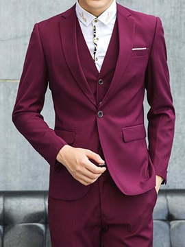 Solid Color Mens Two Piece Three Pieces Suits