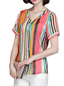 Chic Color Stripe V Neck Blouse