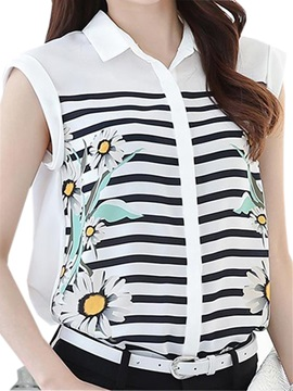 Special Floral Printed Stripe Sleeveless Blouse