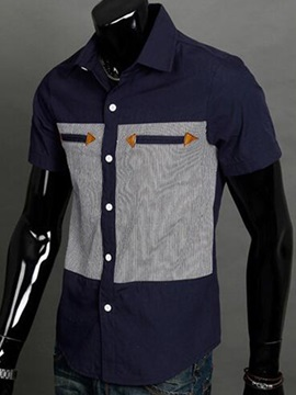 Casual Patchwork Short Sleeve Mens Shirt