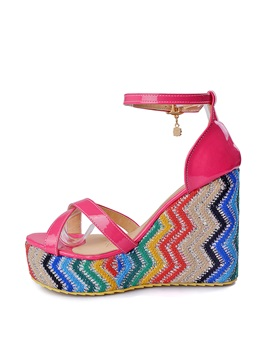 Color Block Crochet Patchwork Wedge Sandals