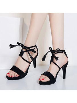Solid Color Pu Lace Up Sandals
